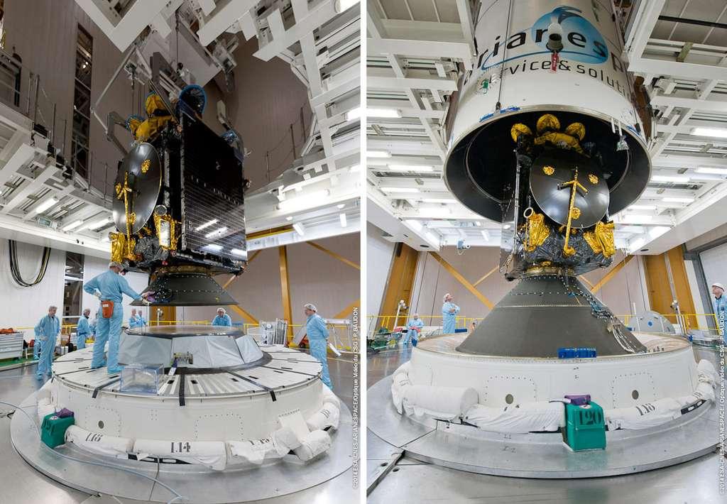 Les deux satellites installés dans le lanceur Ariane 5 dans une configuration de lancement double. Sur les deux images, ABS-2, en position haute, est déposé au-dessus d'Athena-Fidus, en position basse. © Esa, Cnes, Arianespace, service optique CSG
