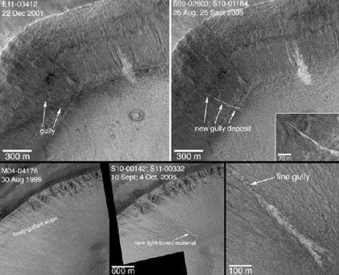 Le plancher et les parois d'une ravine au nord-ouest d'un cratère dans Terra Sirenium se sont profondément modifiés entre décembre 2001 et avril 2005, avec l'apparition d'un dépôt plus clair sur cette image (haut). La même modification apparaît dans un cratère de la région de Centauri Montes (bas). Crédit NASA