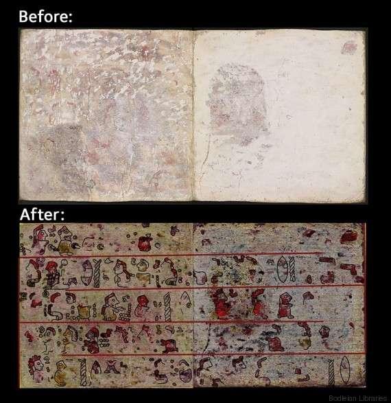 Pictogrammes du manuscrit plus ancien révélés grâce à l'imagerie hyperspectrale. © Ludo Snijders et al.