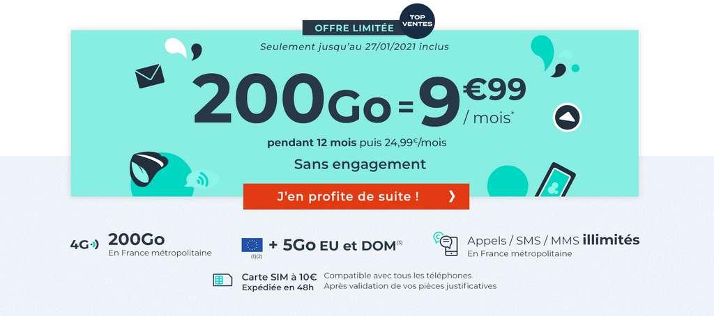 Le forfait 200Go à prix cassé © Cdiscount Mobile