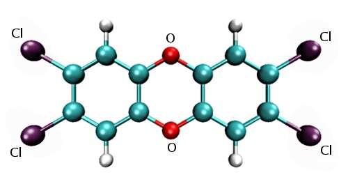 La dioxine de Seveso ou 2,3,7,8-tétrachlorodibenzo-p-dioxine (TCCD). © Kelson, Wikimedia Commons, CC by-sa 3.0