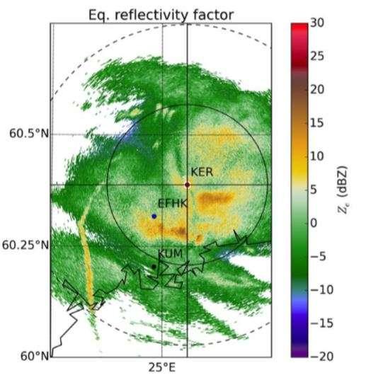 Une bande de précipitation accrue (en jaune à gauche) laissée par un avion se préparant à atterrir à l'aéroport d'Helsinki-Vantaa (EFHK) en mars 2009. Cette image provient d'une station radar dans la ville de Kerava (KER), dans la banlieue nord d'Helsinki. L'université d'Helsinki se situe, quant à elle, dans le quartier de Kumpula (KUM). © Dimitri Moissev et al., AGU, Journal of Geophysical Research: Atmospheres, 2019