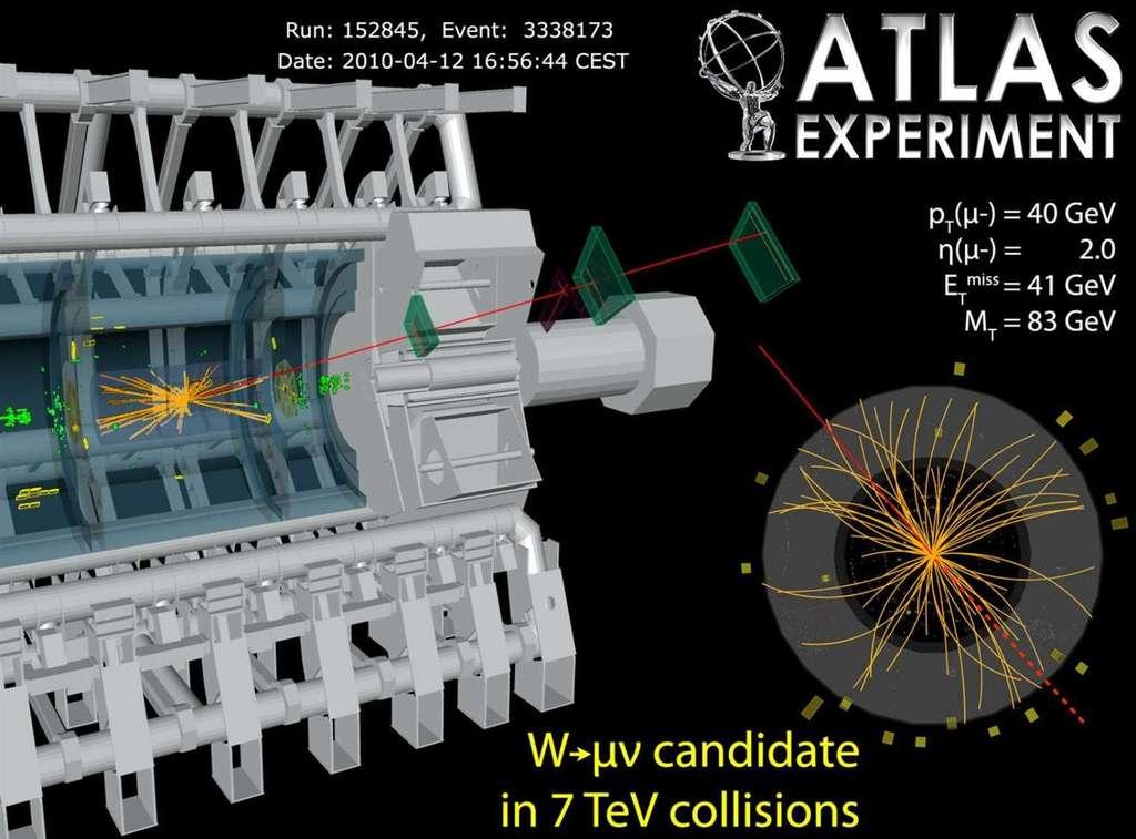 Un évènement candidat, à une énergie de collision totale de 7 TeV, d'un boson W se désintégrant dans Atlas pour produire une paire électron-positron (trace rouge). © Collaboration Atlas-Cern