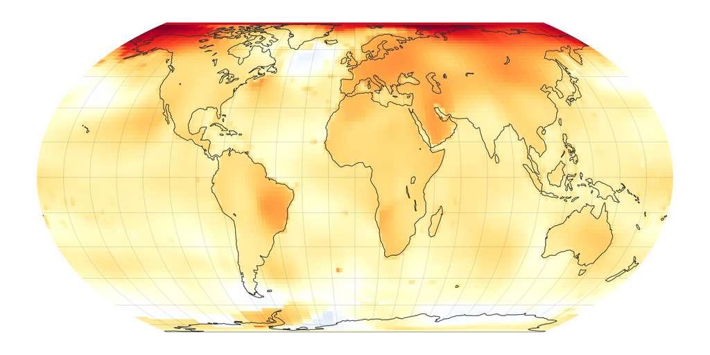 Les chercheurs estiment désormais que notre Planète s'est déjà réchauffée de 1,07 °C. C'est 18 % de plus que les 0,9 °C qu'ils annonçaient encore il y a peu. © Nasa Earth Observatory