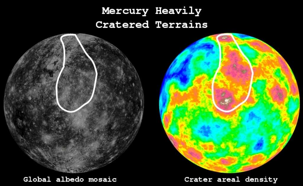 Deux cartes déduites des observations de la surface de Mercure par Messenger. La carte de gauche montre l'albédo (rapport de l'énergie solaire réfléchie par la surface à l'énergie solaire incidente) de la surface de Mercure. La carte de droite montre la densité de cratères dont le diamètre est supérieur à 25 km. Les terrains les plus fortement cratérisés sont en rouge et la ligne blanche entoure les plus anciens, datés d'il y a environ 4,1 milliards d'années. © Johns Hopkins University Applied Physics Laboratory