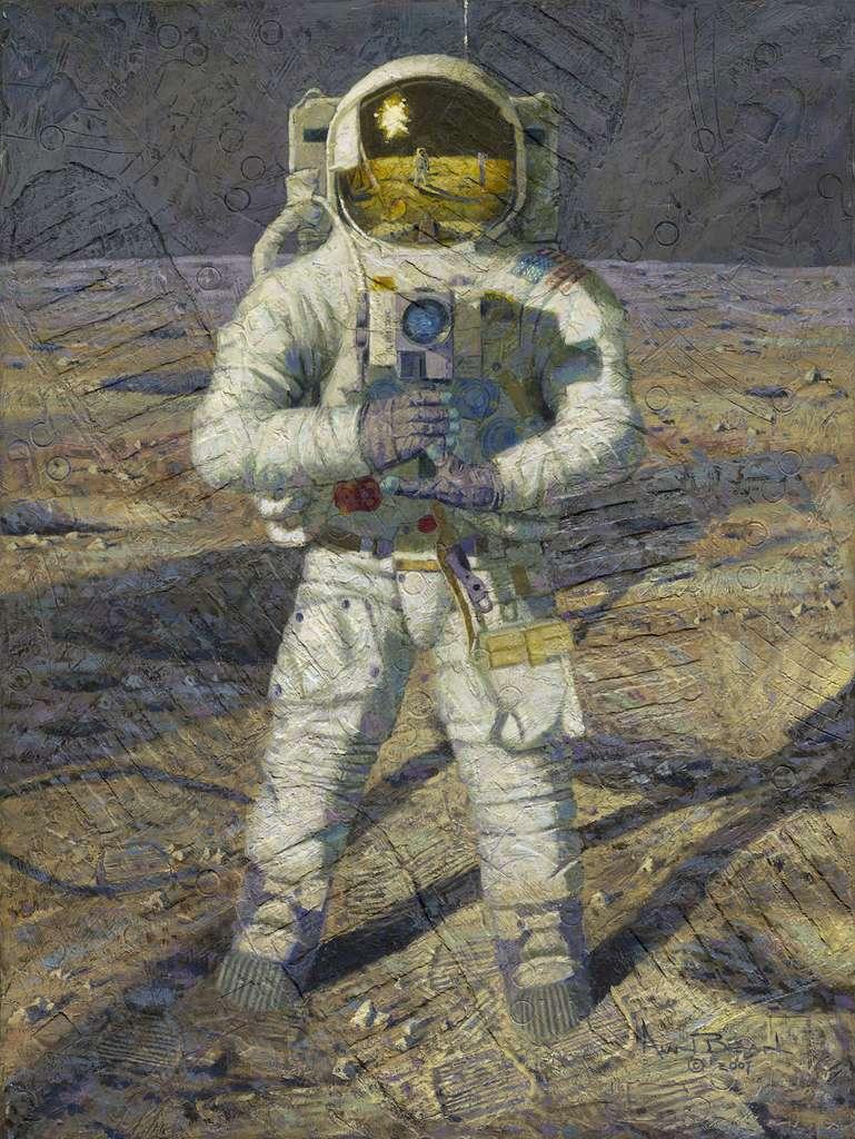 L'une des œuvres peintes par Alan Bean, le quatrième homme à avoir posé le pied sur notre satellite naturel. © Alan Bean