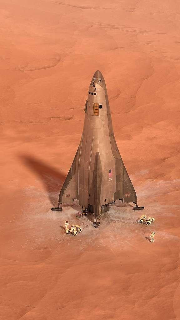 Concept de véhicule de liaison entre le sol martien et la base en orbite autour de la Planète rouge. © Lockheed Martin