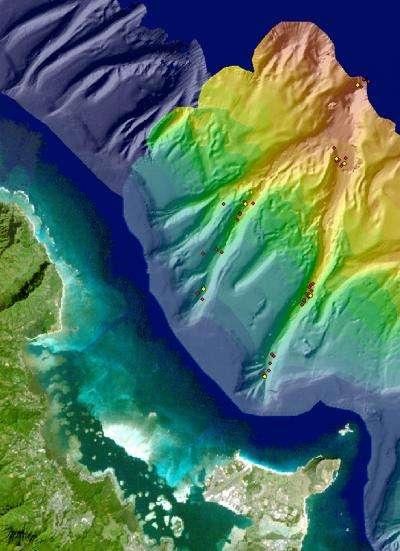 L'équipe de Manoa a cartographié les canyons sous-marins et relevé des échantillons de sédiments en diverses profondeurs marquées avec des points sur l'image. © Université d'Hawaï de Manoa