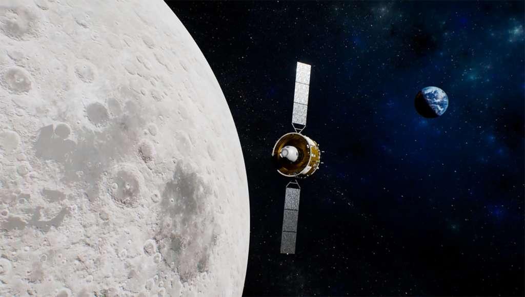 L'orbiter Chang'e 5 quitte la Lune avec quelque 2 kilogrammes d'échantillons et vol en direction de la Terre. © CNSA