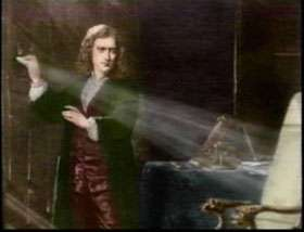 A gauche, Newton et sa seconde expérience. A droite, une vision plus idéalisée (Peinture de Pelagio Palagi).
