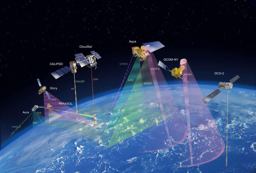 Glory, sur une orbite basse à 700 km d'altitude, devait rejoindre la constellation A-Train, un astucieux petit train spatial mis en place par la Nasa, l'Agence spatiale canadienne et le Cnes. Cette constellation comprend plusieurs satellites d'observation de la Terre qui volent en formation à quelques minutes d'intervalle sur une orbite héliosynchrone. Chaque satellite a sa propre mission, complémentaire des autres. © Nasa