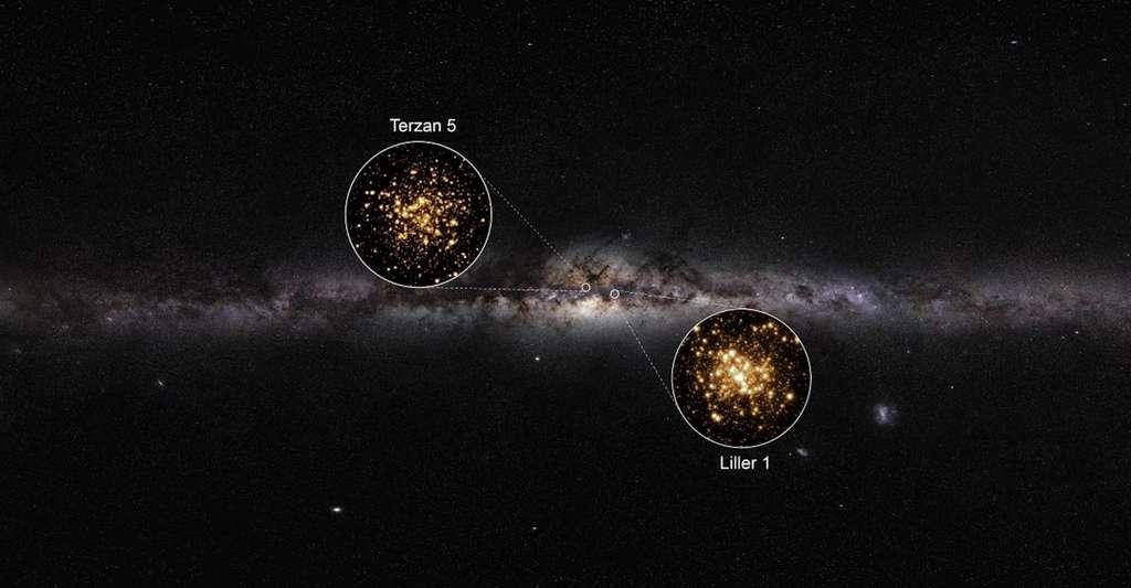 Sur cette image, les localisations de Terzan 5 et de Liller 1, au cœur de la Voie lactée. © F.R. Ferraro, C. Pallanca, Université de Bologne