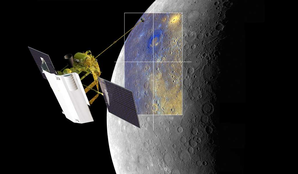 La sonde Messenger en train de dresser une carte en fausses couleurs de la surface de Mercure. Elle a effectué un survol complet de la planète. © Nasa, Johns Hopkins University Applied Physics Laboratory, Carnegie Institution of Washington