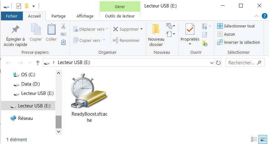 Un fichier de mise en cache est automatiquement généré sur le périphérique de stockage. ©Microsoft