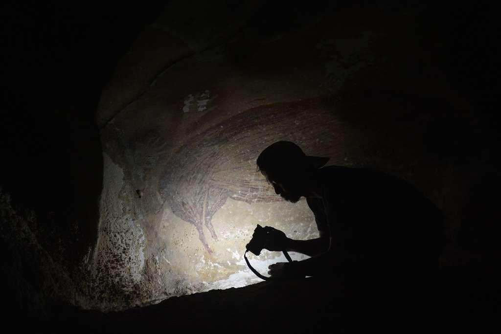 La datation d'un dessin dans la grotte de Leang Tedongnge. © AA Oktaviana