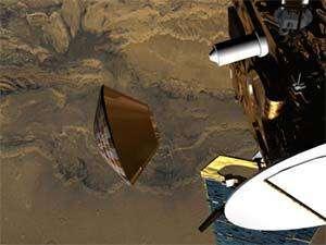 Beagle 2 se détachant de Mars Express (Vue d'artiste - ESA)