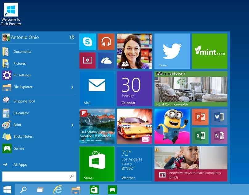 La suppression du menu Démarrer dans Windows 8 a fait l'unanimité contre elle. Microsoft a entendu cette critique, parmi d'autres, et réintroduit cette fonction dans Windows 10. Le nouveau menu Démarrer comportera une partie personnalisable avec des applications, des programmes ou des sites Internet sous forme de tuiles redimensionnables. © Microsoft