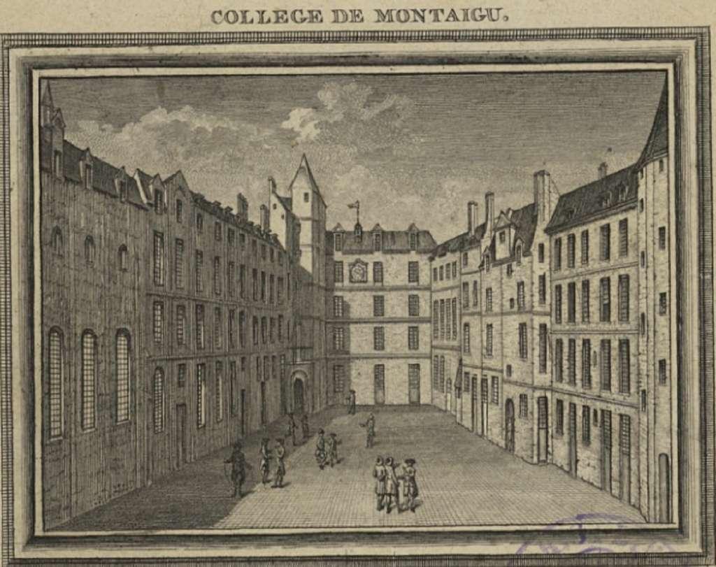 Collège de Montaigu (un des collèges constituants de la faculté des arts de l'université de Paris), gravure XVIIIe siècle, source Gallica, BnF. © Wikimedia Commons, domaine public
