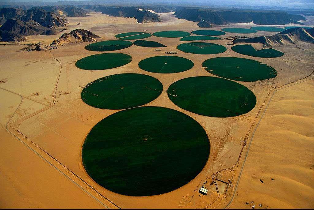 Irrigation en carrousel, Wadi Rum, région de Ma'an, Jordanie (29°36' N – 35°34' E). Ce carrousel d'arrosage autopropulsé restitue aux cultures l'eau puisée par forage dans les couches profondes du sous-sol (de 30 m à 400 m), sur des surfaces irriguées de 78 ha, au moyen d'une rampe pivotante munie de buses d'arrosage, longue d'environ 500 m et montée sur des roues de tracteur. En Jordanie, le volume d'eau consommé dépasse celui des réserves renouvelables. Les nappes souterraines sont exploitées à un rythme deux fois supérieur à celui de leur réalimentation, quand il ne s'agit pas de nappes fossiles non renouvelables. © Yann Arthus-Bertrand - Tous droits réservés