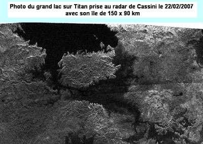 Le lac de Titan, photographié par Cassini en 2007. © DR