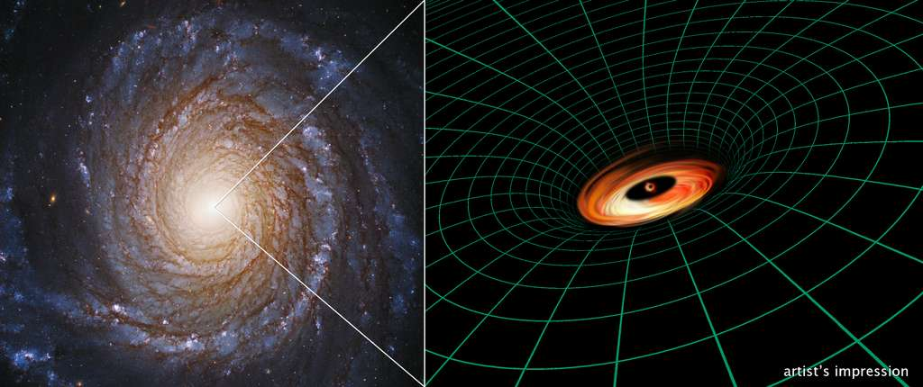 Une photo de la galaxie de Seyfert NGC 3147 prise par Hubble à gauche, avec son noyau central actif et lumineux. À droite, une vue d'artiste du trou noir supermassif de la galaxie et de son disque de rotation dans l'espace-temps.© Hubble Image : Nasa, ESA, S. Bianchi (Università degli Studi Roma Tre University), A. Laor (Technion-Israel Institute of Technology), M. Chiaberge (ESA, STScI, and JHU); illustration: Nasa, ESA, A. Feild and L. Hustak (STScI).