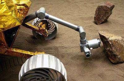MR-2 simulant la détection et l'examen d'un rocher lunaire. Crédit Institut de l'Ingénierie spatiale de Shanghai.
