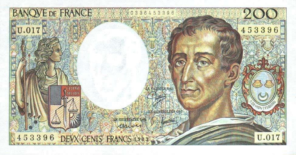 Clin d'oeil pour les nostalgiques du Franc. Montesquieu est représenté ici sur ce billet qui a été émis en 1982 « commémorant les personnages illustres qui ont contribué à la constitution du patrimoine historique de la France ». © Banque de France, DP