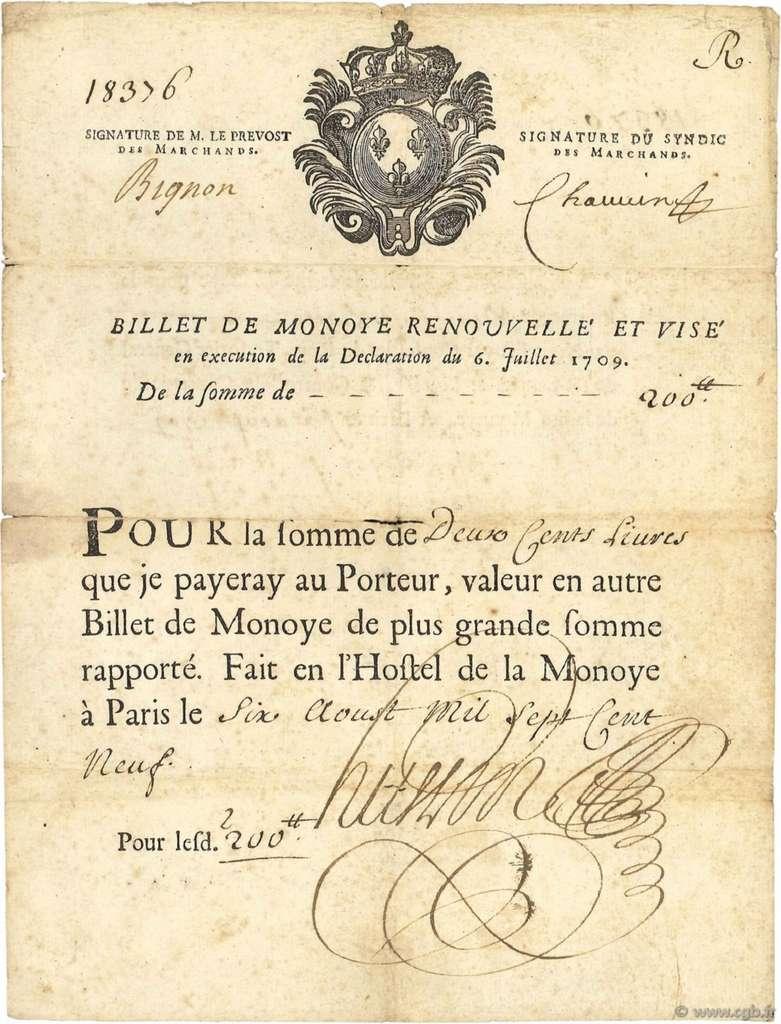 Exemple de billet de monnaie de 200 livres, émis le 6 août 1709, à l'hôtel de la Monnaie de Paris. Numismatique Paris. © cgb.fr