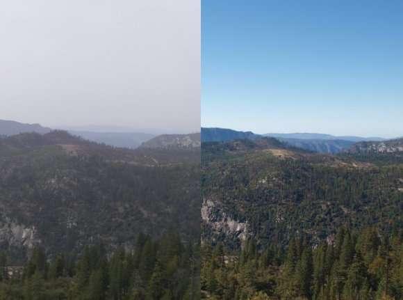 La clarté de la vue peut-être altérée par les particules en suspension dans l'atmosphère, les aérosols. Par temps clair, de grosses particules, de l'ordre du micromètre, réfléchissent très efficacement les rayons solaires incidents, assombrissant ainsi la visibilité. © U.S. National Park Service