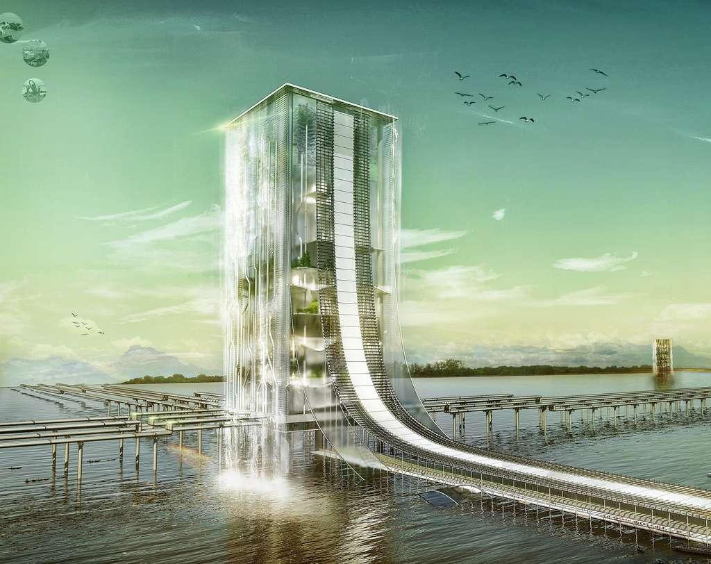 Cette tour transparente filtre l'eau des fleuves et accueille des jardins et même des forêts. © Kang Tae Hwan, Kim Min Jeong, Yun Seo Jun, Lee Se Won, eVolo