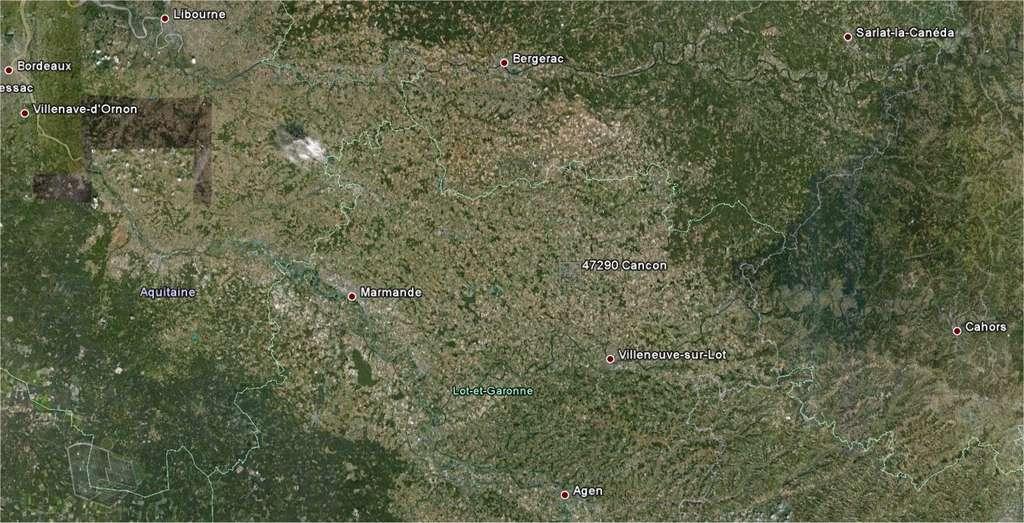 On trouve Cancon sur la route qui relie Bergeracà Villeneuve-sur-Lot, entre la Dordogne et le Lot. (Image Google Earth.)