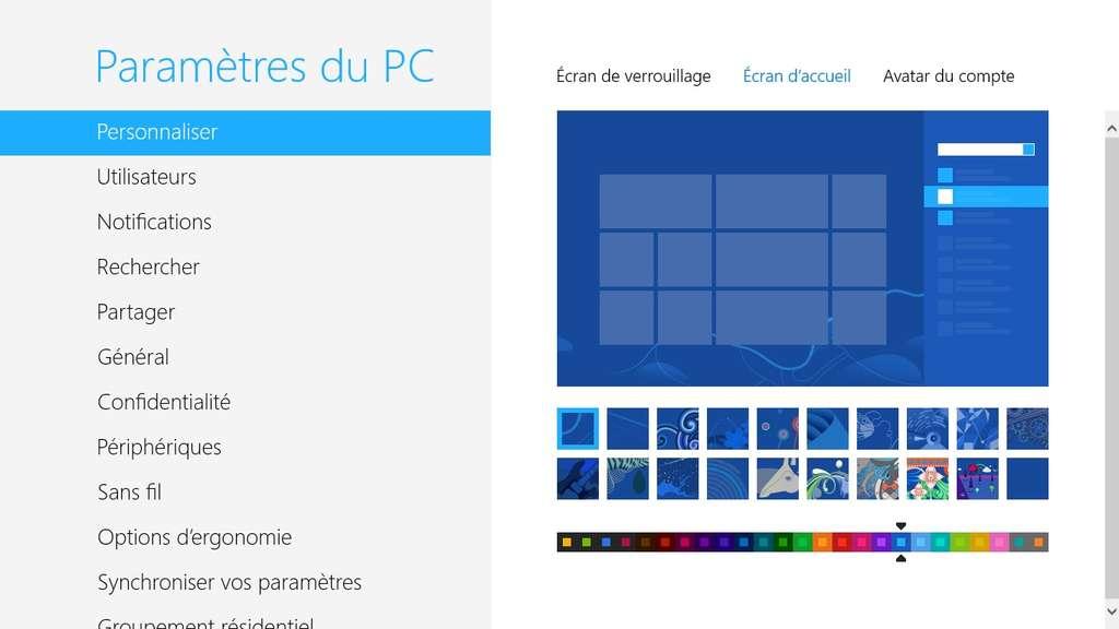 Point d'entrée obligé avec Windows 8, l'écran d'accueil peut être personnalisé au niveau de ses couleurs et de ses décorations. Mais il est impossible de remplacer le fond coloré par une image personnelle. © Eureka Presse