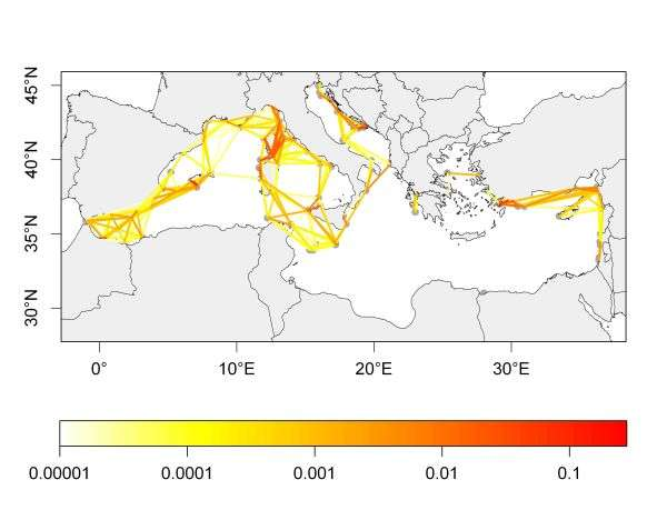 Cette carte du bassin méditerranéen montre la connectivité entre aires marines protégées. Les couleurs représentent la probabilité de connexion. © Marco Andrello