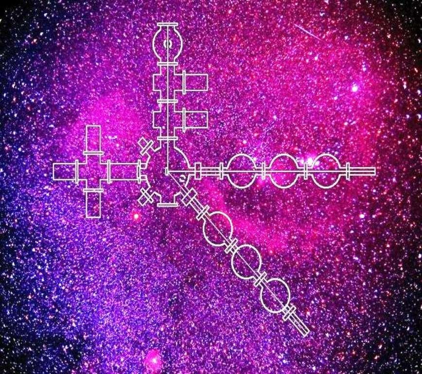 Cette image est un symbole possible des travaux d'astrochimie en laboratoire sur Terre. Le schéma d'un dispositif de l'un de ces laboratoires se voit avec en arrière-plan une photo en fausses couleurs d'un nuage moléculaire. © Gianfranco Vidali