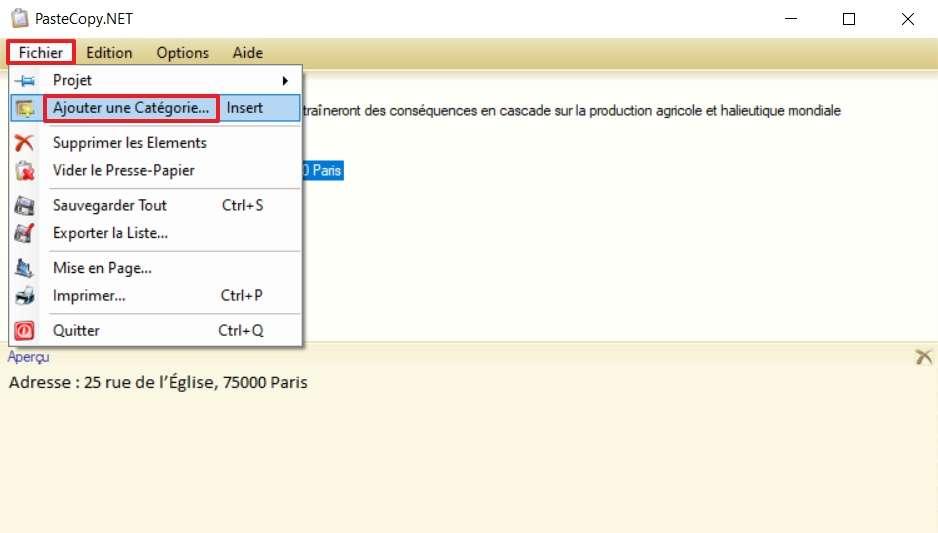 Cliquez sur « Fichier », puis sur « Ajouter une Catégorie ». © SundryTools.com