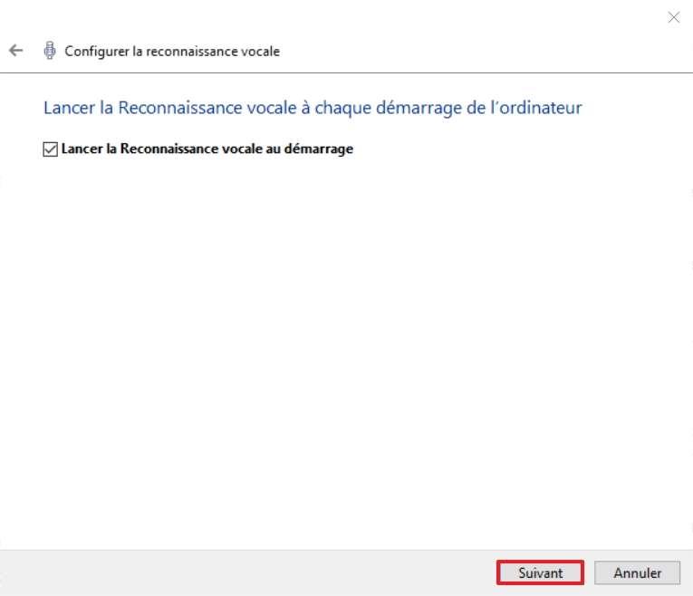 Décidez si la reconnaissance vocale doit se lancer au démarrage l'ordinateur ou pas. © Microsoft