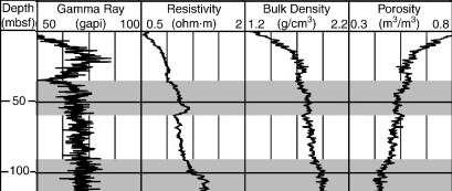 Variations des propriétés physiques des roches dans les carottes. De gauche à droite : l'émission de rayons gamma, la résistance, la densité et la porosité de la roche en fonction de la profondeur. © IODP