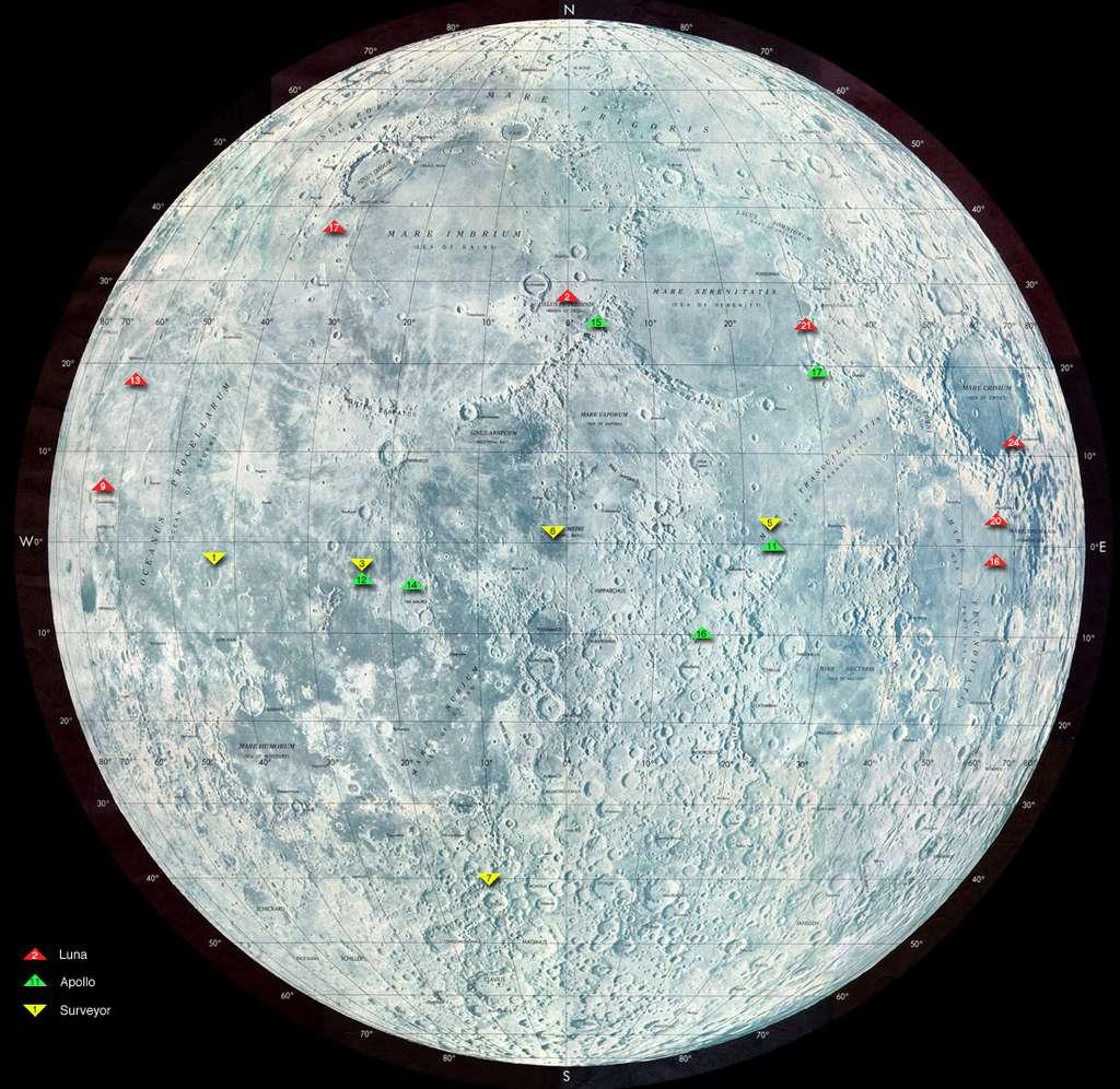 Ce soir, amusez-vous à observer avec une paire de jumelles les sites d'atterrissage des missions Apollo (triangles verts). © Nasa