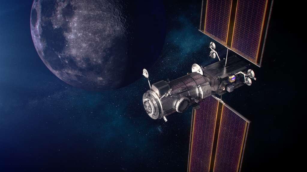 Les modules PPE et Halo, les deux premiers éléments du Gateway seront lancés ensemble en mai 2024. SpaceX réalisera le lancement avec un lanceur Falcon Heavy. © Nasa
