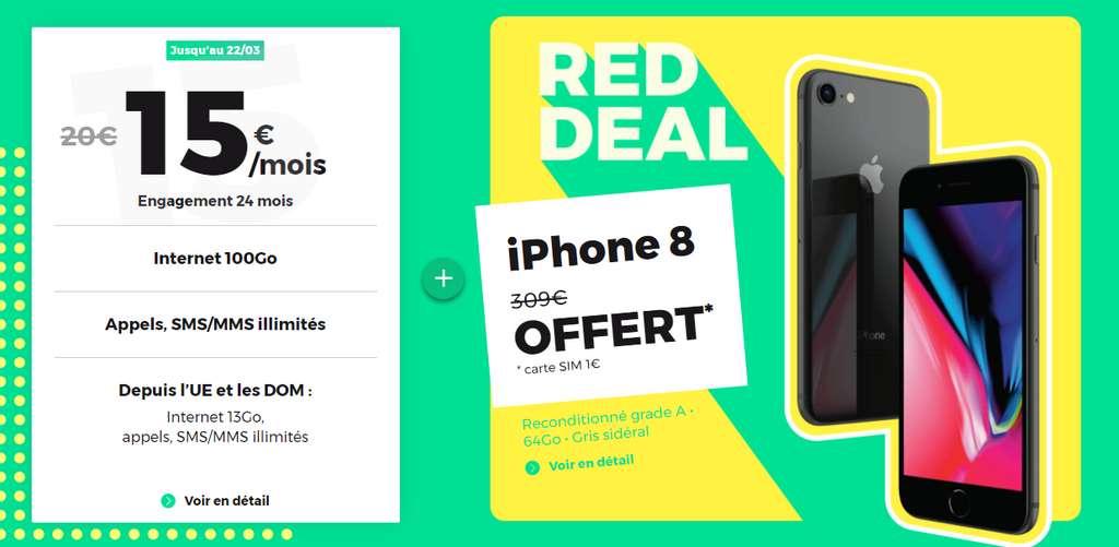 Un iphone 8 reconditionné offert pour toute souscription au forfait 100Go © RED By SFR