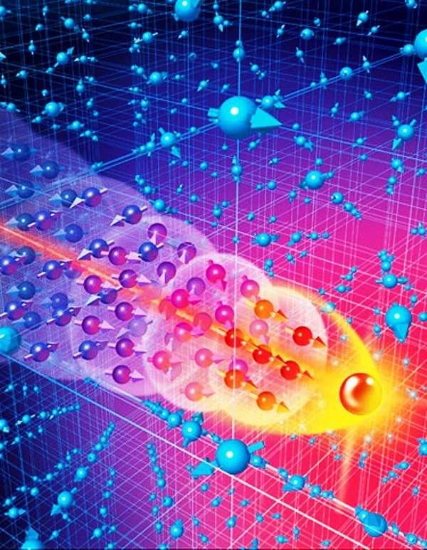 Une vue d'artiste d'un électron de conduction dans un fermion lourd. © Yazdani Group