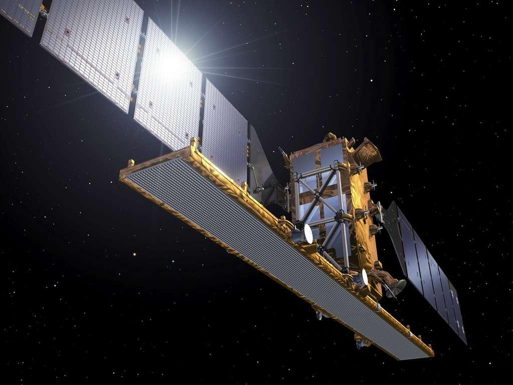 Vue d'artiste du satellite Sentinel 1A (3,8 mètres de côté pour 4,4 mètres de hauteur) et de son antenne radar déployée. © Esa, P. Carril
