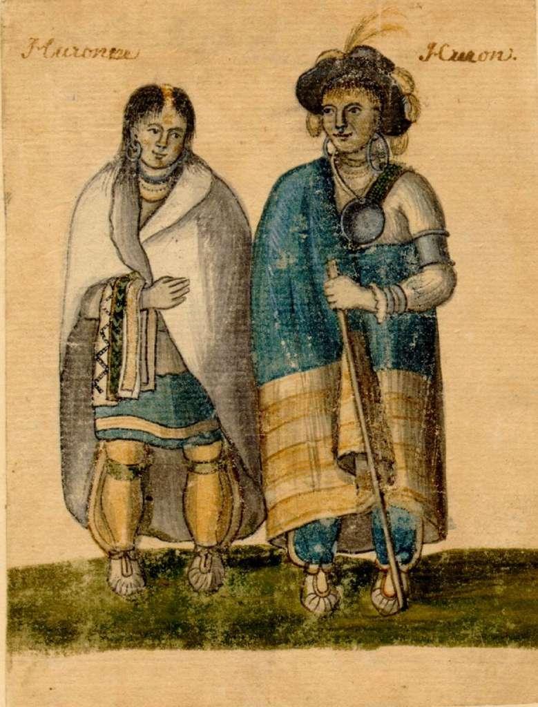 Couple d'indiens Hurons vers 1750. © Archives de la Ville de Montréal (Fonds BM7), domaine public.