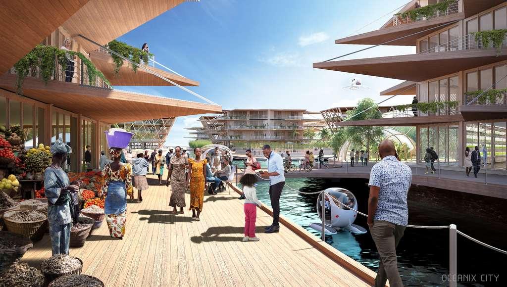 Oceanix city s'adresse en premier lieu aux zones tropicales, les plus menacées par les catastrophes naturelles et où la culture est plus facile. © Oceanix/BIG-Bjarke Ingels Group