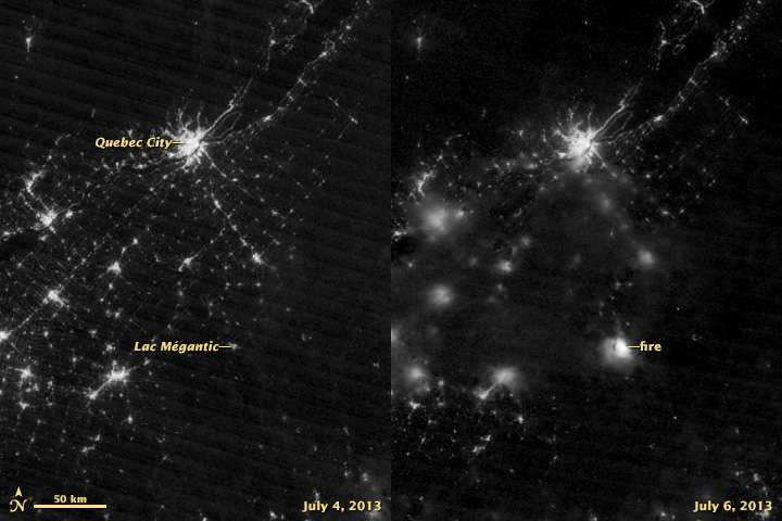 Comparaison des images du satellite Suomi NPP de la Nasa prises le 4 juillet 2013 (à gauche) et le 6 juillet (à droite). Le satellite capture la lumière dans la gamme du vert jusqu'au proche infrarouge. Sur l'image de gauche, on situe la luminosité de Lac-Mégantic et de Québec. Sur l'image de droite, on observe l'éclat du feu (fire) du train. © Nasa