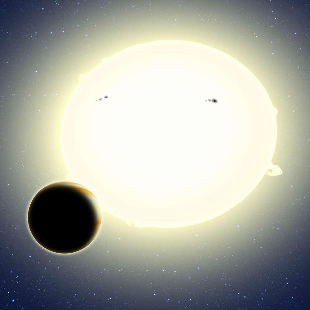 Vue d'artiste de Kepler-76b, une géante gazeuse en orbite autour d'une étoile à 2.000 années-lumière du Soleil. Sa présence modifie de façon caractéristique la luminosité de son étoile même lorsqu'elle ne l'éclipse pas, ce qui permet sa détection par photométrie. © David Aguilar