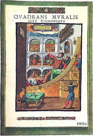 L'Observatoire d'Uraniborg, représentation extraite d'un ouvrage de T Brahe, Astronomiae instauratae mechanica, 1598