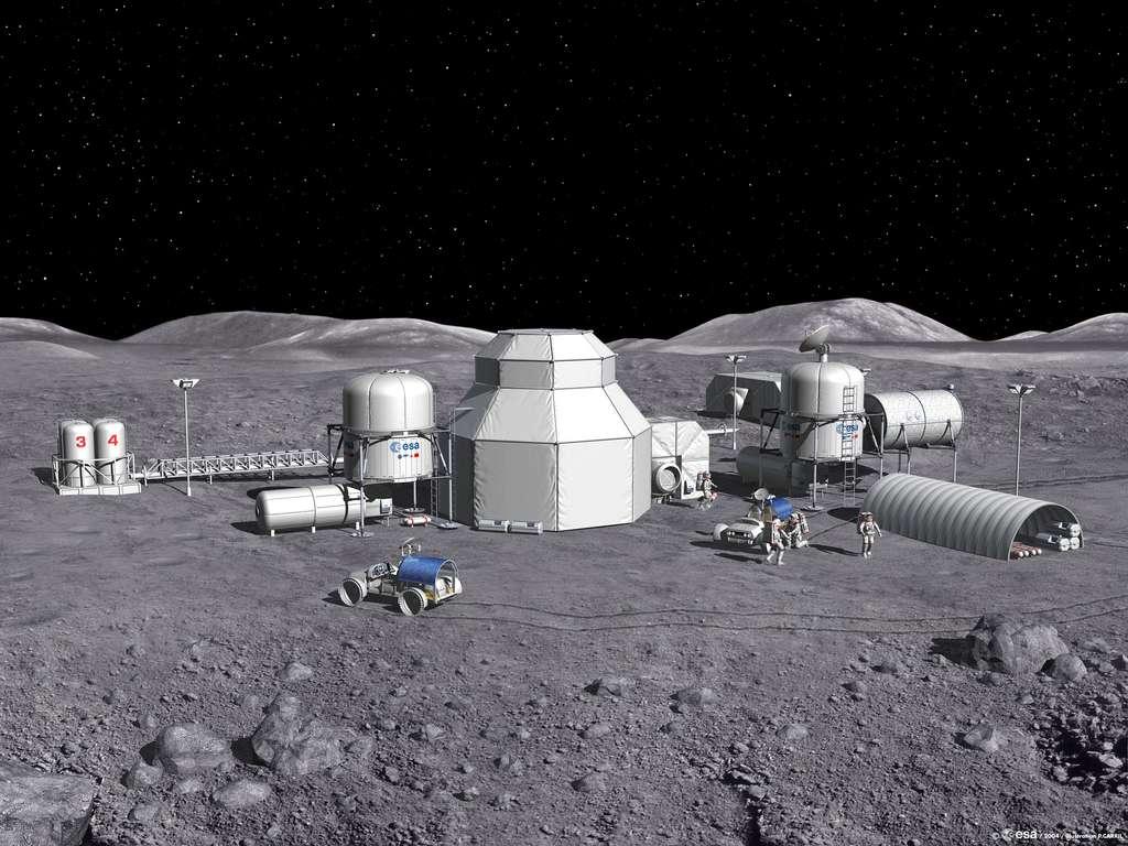 Un concept architectural d'une base lunaire habitée envisagé dans le cadre du programme Aurora. © Esa, P. Carril