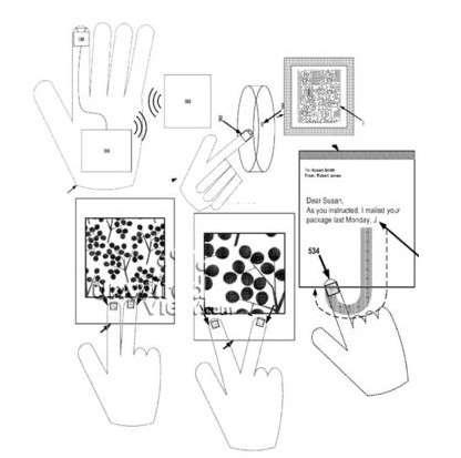 Sur ce schéma décrivant le concept de cybergant dans le brevet, Google représente la microcaméra placée au bout de l'index. On voit comment l'utilisateur pourrait zoomer sur une image en se servant de ses deux doigts, comme cela se fait actuellement sur les écrans des smartphones et des tablettes tactiles. © Google/USPTO
