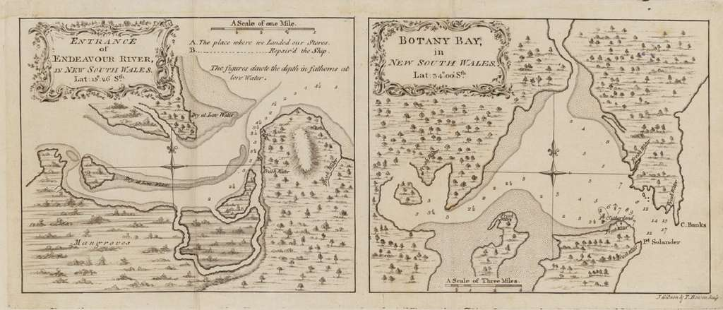 Endeavour River et Botany Bay, dessinées par James Cook en 1773. © Wikimedia Commons, domaine public.